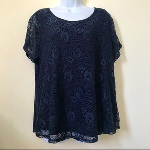 Leo & Nichole Short-Sleeved Lace Top, Navy, XL